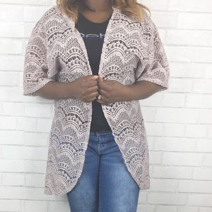 Charlotte Russe Lace Front Cardigan. Size M